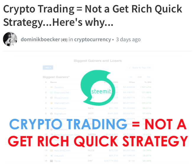 Crypto Trading + Not a Get Rich Quick Scheme